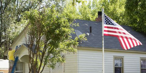 Property, Real estate, Flag of the united states, Home, Flag, Tree, House, Leaf, Roof, Building,