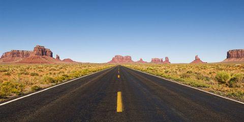 Road, Brown, Road surface, Natural landscape, Infrastructure, Asphalt, Landscape, Horizon, Plain, Rock,