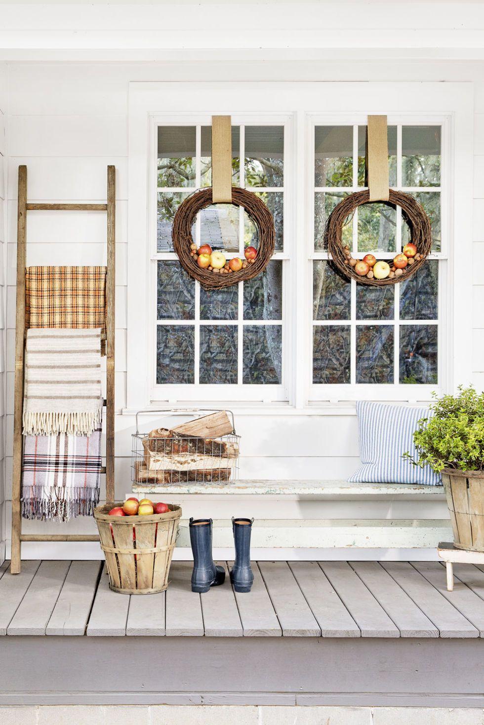 Fall Porch Decorating Ideas Apple Wreaths