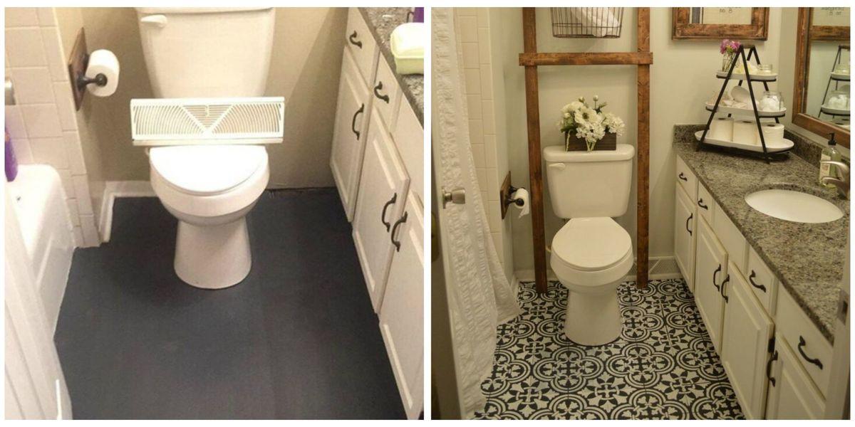 How to Paint Linoleum Floor - DIY Painted Bathroom Floor