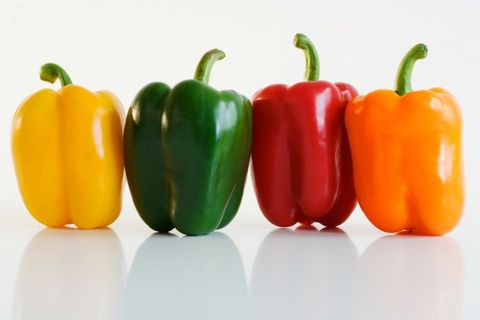 Bell pepper, Green, Yellow, Whole food, Vegan nutrition, Ingredient, Natural foods, Food, Red, Vegetable,