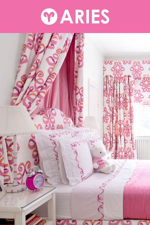 Room, Interior design, Textile, Red, Pink, Magenta, Linens, Wall, Bed, Bedding,