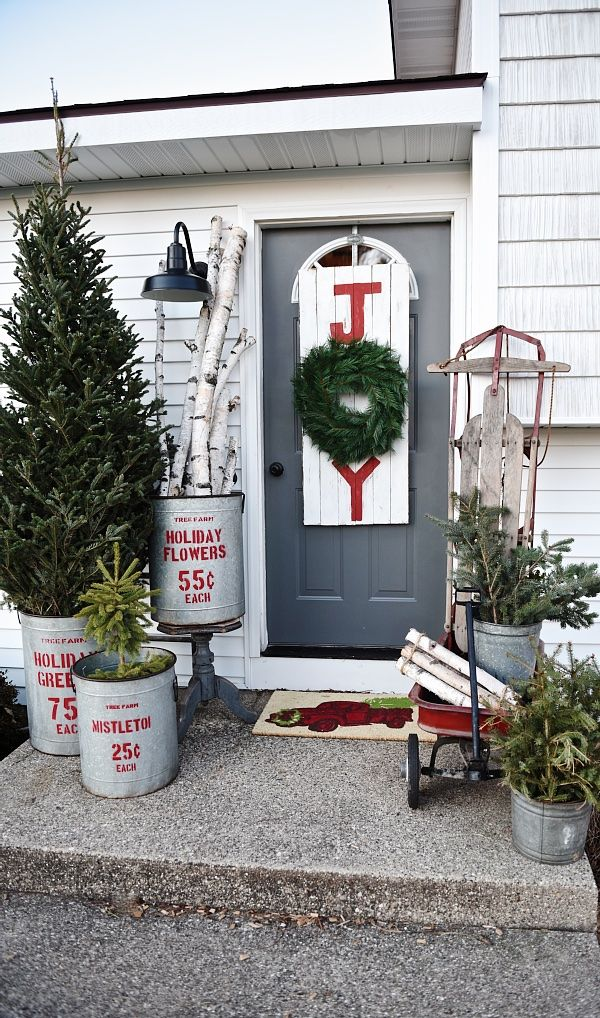 rustic christmas porch decorations & 35+ Outdoor Christmas Decorations - Ideas for Outside Christmas ...