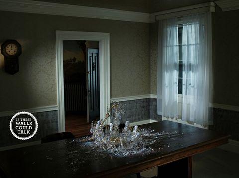 Room, Property, Interior design, Floor, Glass, Interior design, Fixture, Wall clock, Home accessories, Door,