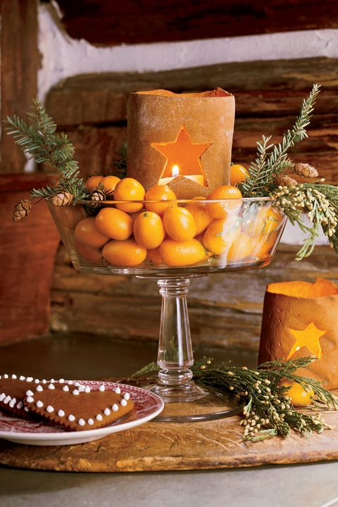 christmas table centerpieces citrus display
