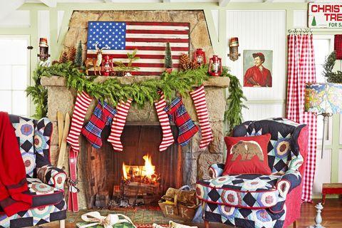 americana christmas mantel
