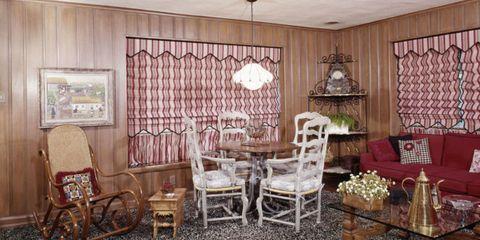 Interior design, Room, Wood, Furniture, Chair, Table, Floor, Window covering, Ceiling, Interior design,