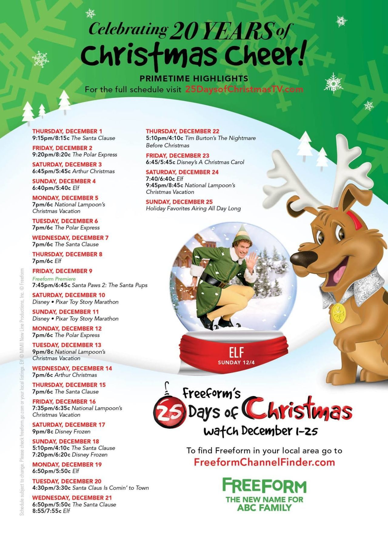 photo about Abc Family 25 Days of Christmas Printable Schedule identify Freeforms \