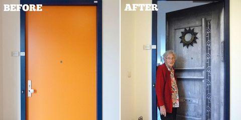 Coat, Blazer, Fixture, Door, Street fashion, Home door, Scarf, Multimedia,