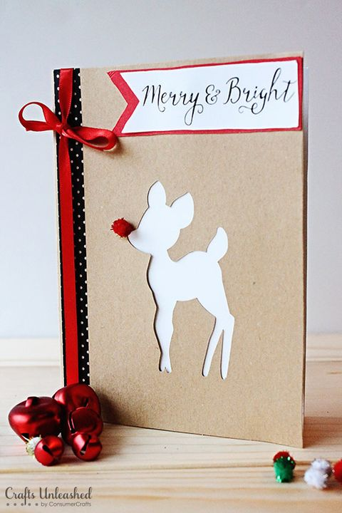 Merry Bright Rudolph Christmas Card