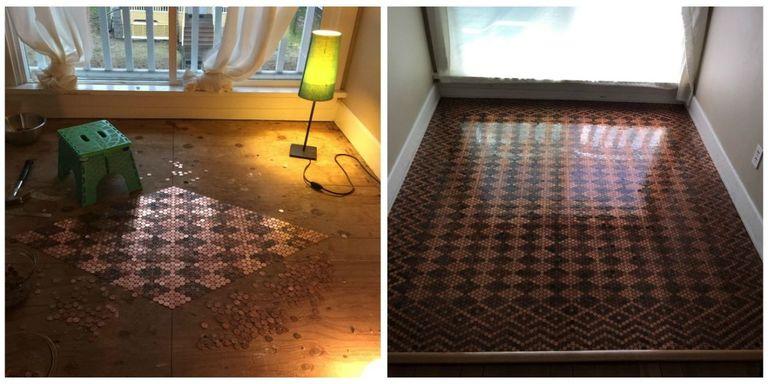 DIY Floor from Pennies - How to Make Floor Design with Pennies