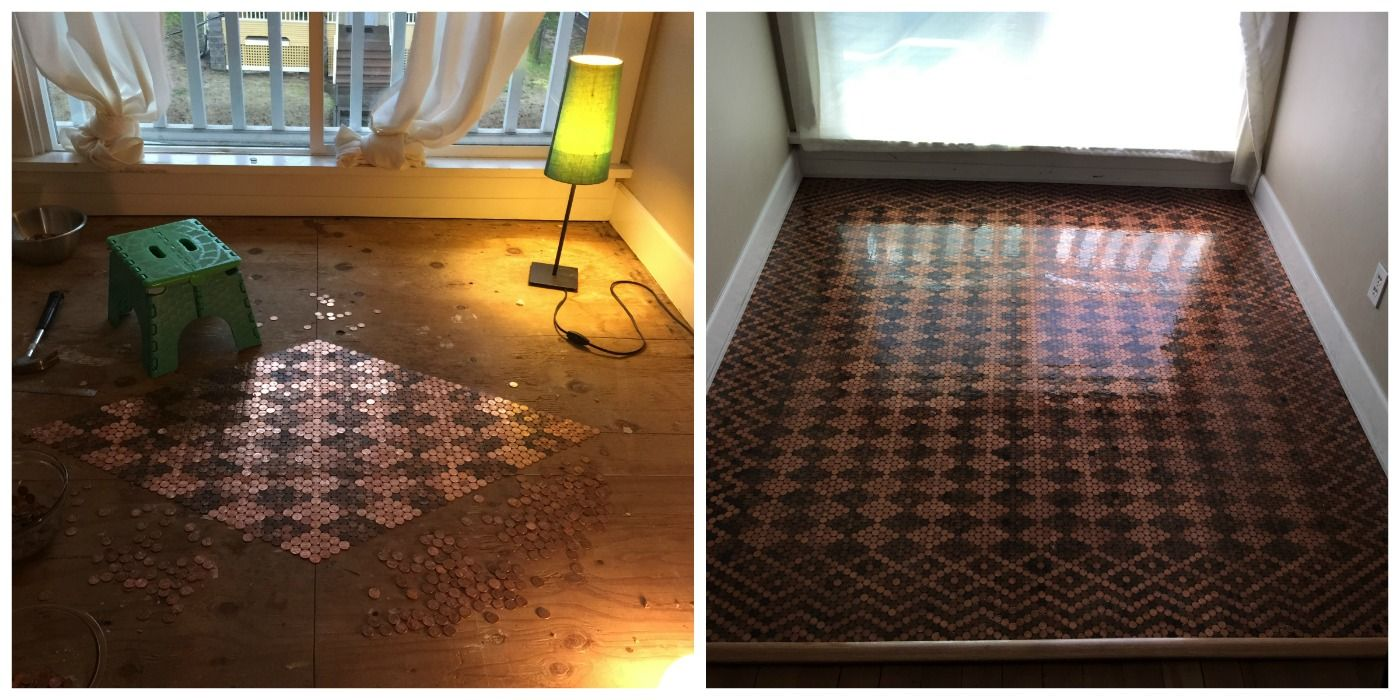 Diy Floor From Pennies How To Make Floor Design With Pennies