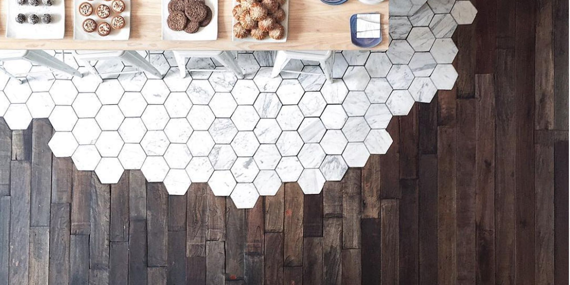 Hexagonal Tiles And Hardwood Make The Most Beautiful Flooring Combination Transitional