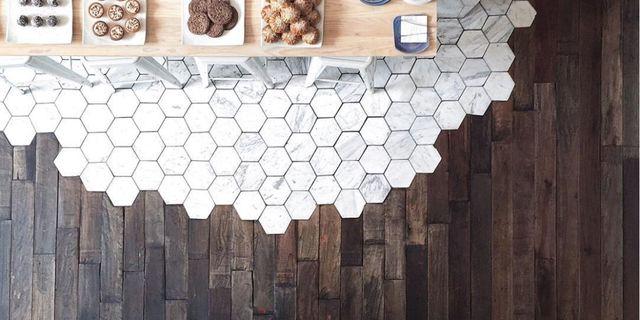 Hexagonal Tiles And Hardwood Make The Most Beautiful Flooring Combination Transitional Flooring