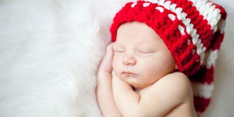 Lip, Cheek, Skin, Textile, Baby sleeping, Red, Child, Comfort, Baby & toddler clothing, Headgear,