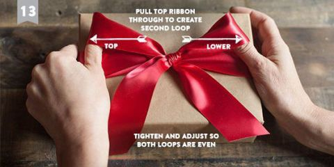 Finger, Ribbon, Red, Font, Present, Thumb, Nail, Knot, Gift wrapping, Tie,