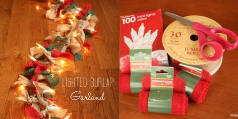 How to Make a Lighted Burlap Garland - DIY Christmas Decor