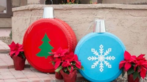 Diy Giant Christmas Ornaments Turn Tires Into Christmas Ornaments