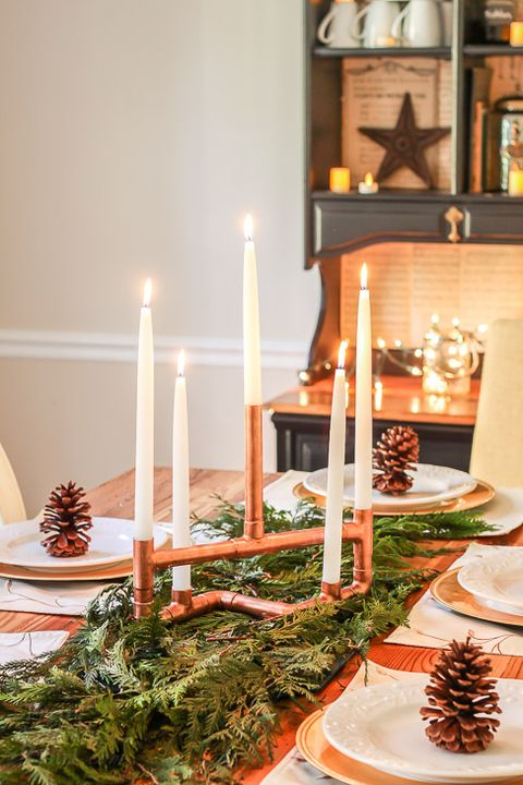 diy christmas centerpiece copper