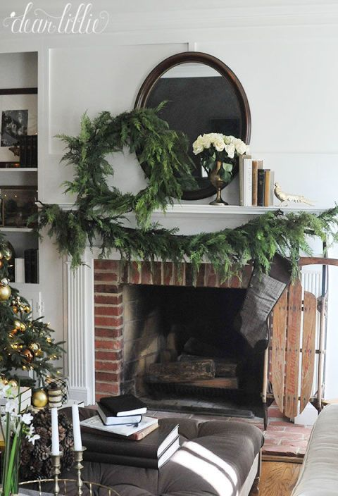 Interior design, Christmas decoration, Interior design, Hearth, Home, Living room, Arch, Fireplace, Christmas, Wreath,