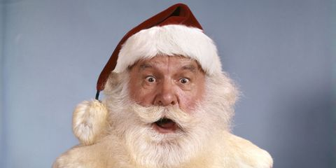 Cheek, Skin, Facial hair, Costume accessory, Fur, Holiday, Costume hat, Fictional character, Pleased, Wrinkle,