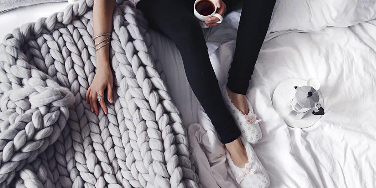 Hand Knit Blanket Chunky Tutorial