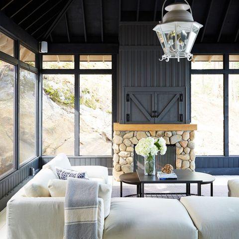 White Brick And Shiplap Fireplace