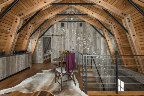 Barn Inspired Guest House Kitchen And Stairs