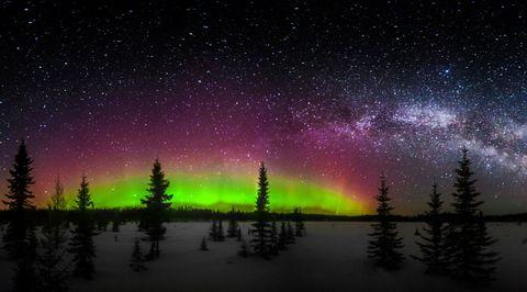 Nature, Green, Aurora, Natural landscape, Purple, Night, Star, Pink, Magenta, Space,