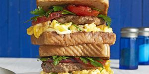 loaded breakfast sandwiches with fennel herb sausage