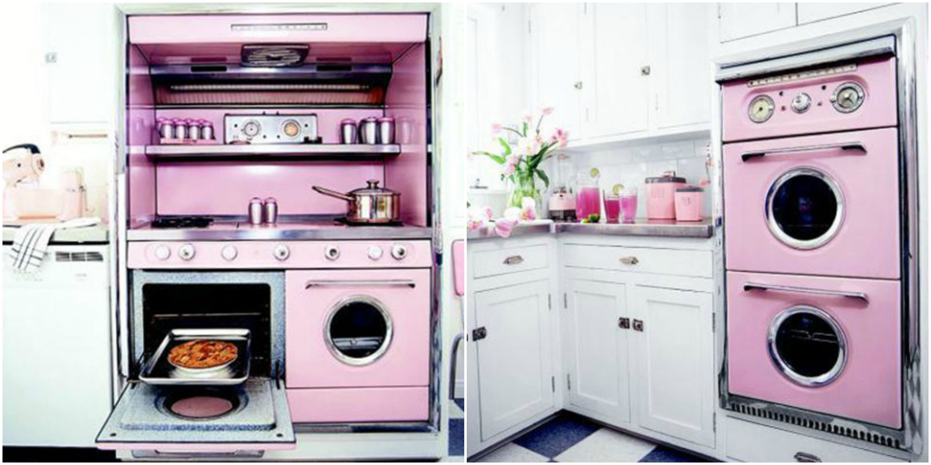 Pink Retro Kitchen Decorating Ideas - Vintage Kitchen Decor