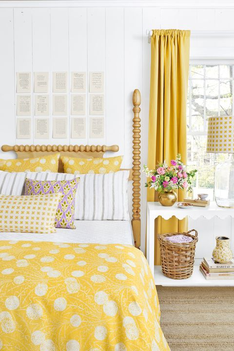 Bed, Room, Yellow, Interior design, Bedding, Textile, Bedroom, Bed sheet, Floor, Linens,