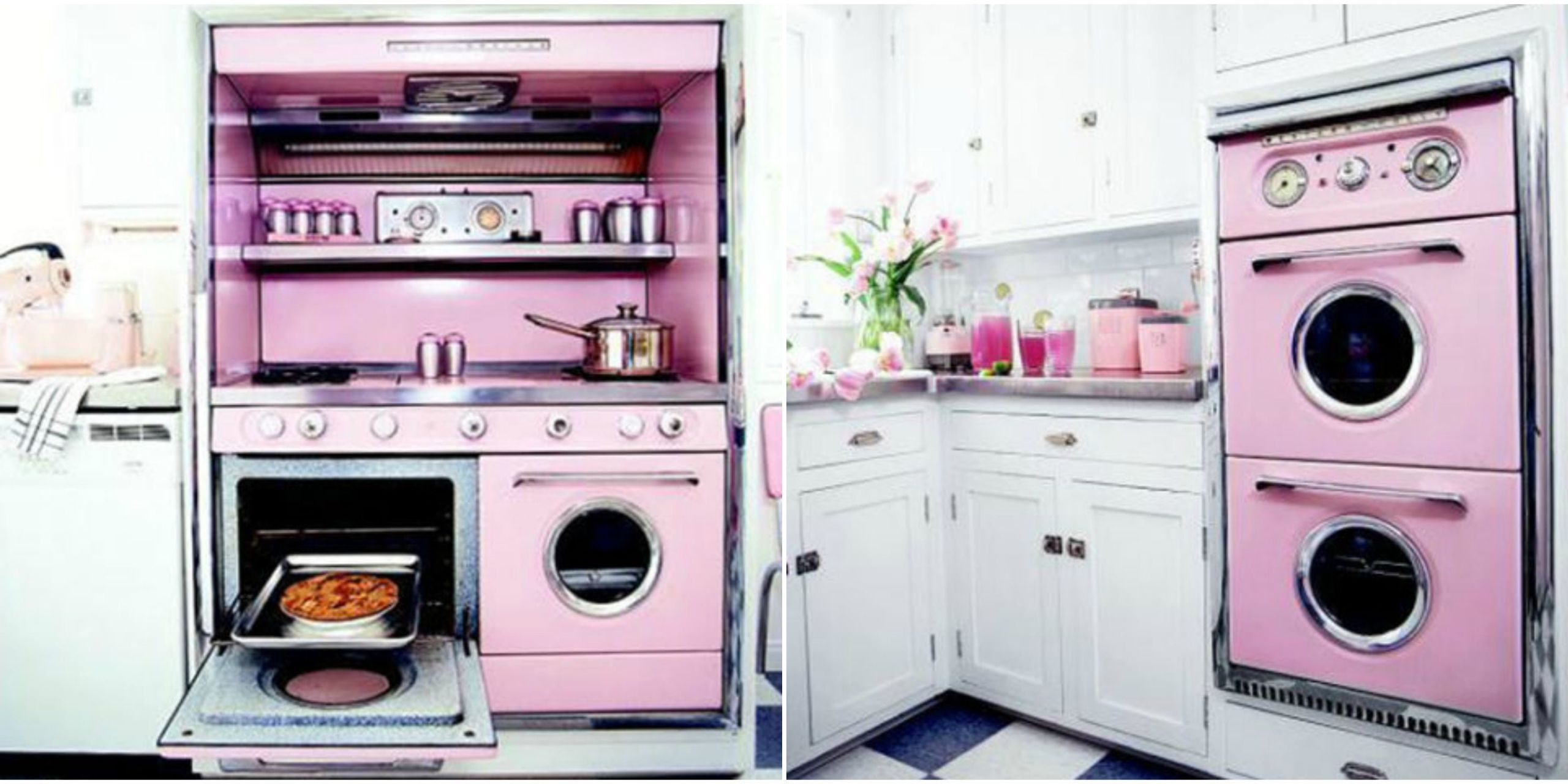 Fortune Smiles On A Los Angeles Couple As They Successfully Accumulate  Hard To Find Vintage Appliances For Their Rose Hued Retro Kitchen.