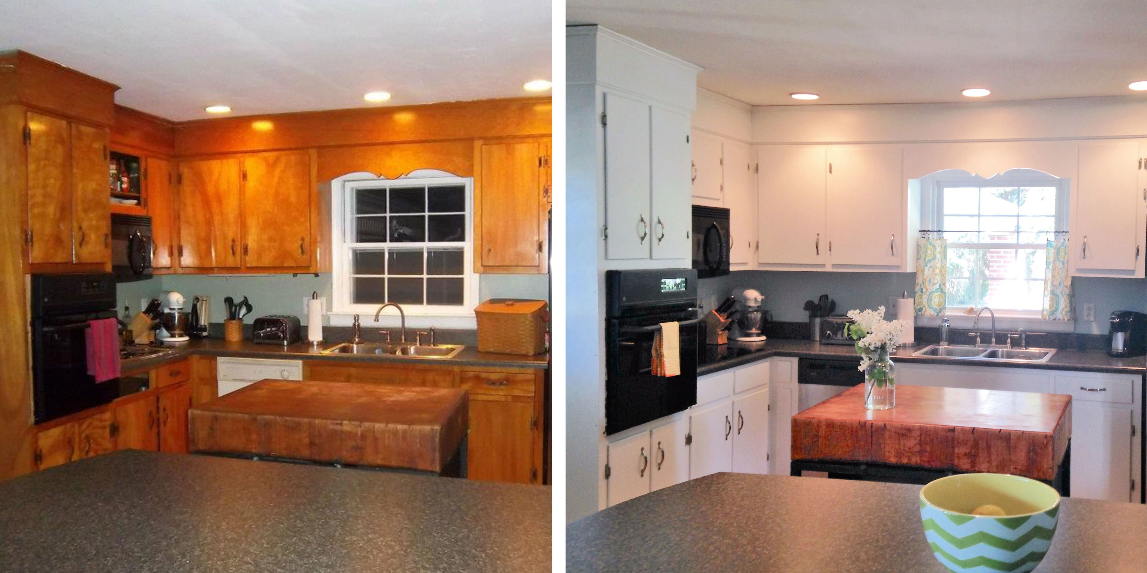 10 diy kitchen cabinet makeovers before after photos that prove rh countryliving com Old Kitchen Cabinets Makeover DIY Kitchen Cabinet Door Makeover