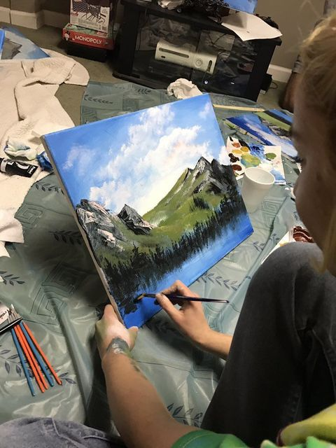 This Guy Threw A Bob Ross Painting Party And It Looked Like A Happy Little Time