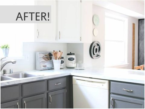 How To Redo Kitchen Cabinets Yourself 15 DIY Kitchen CabiMakeovers   Before & After Photos of