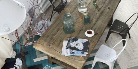 Wood, Table, Furniture, Water bottle, Hardwood, Drinkware, Teal, Wood stain, Turquoise, Plastic bottle,