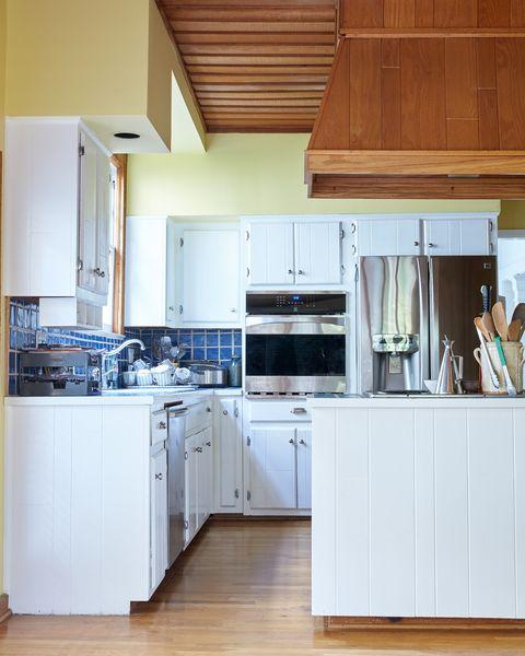 Wood, Brown, Room, Floor, White, Kitchen, Major appliance, Home appliance, Kitchen appliance, Flooring,