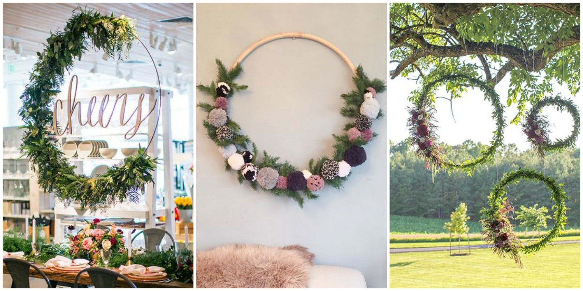 How to Make Large Hula Hoop Wreaths for Spring - DIY Large Wreaths
