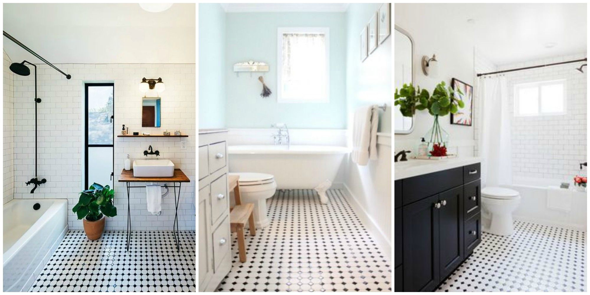 Classic black and white tiled bathroom floors are making a huge classic black and white tiled bathroom floors are making a huge comeback dailygadgetfo Gallery