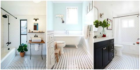 Black And White Bathroom Floor Tiles Are Making A Huge Comeback
