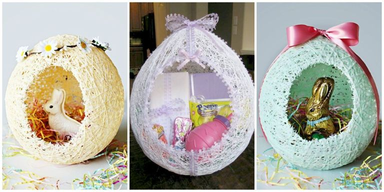 these diy sugar string easter baskets are the most adorable decorations