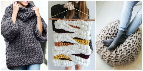 e0aa7024014b Best Chunky Knit Crafts - How to Make Arm Knitting Home Decor Pieces ...