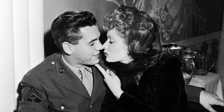 Lucille Ball And Desi Arnaz Kissing