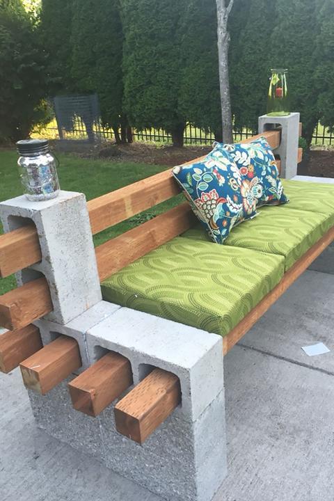 1 Cinder Block Bench Garden