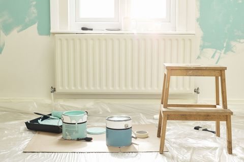 Furniture, Room, Table, Turquoise, Interior design, Stool, Floor, Window, Chair, Small appliance,