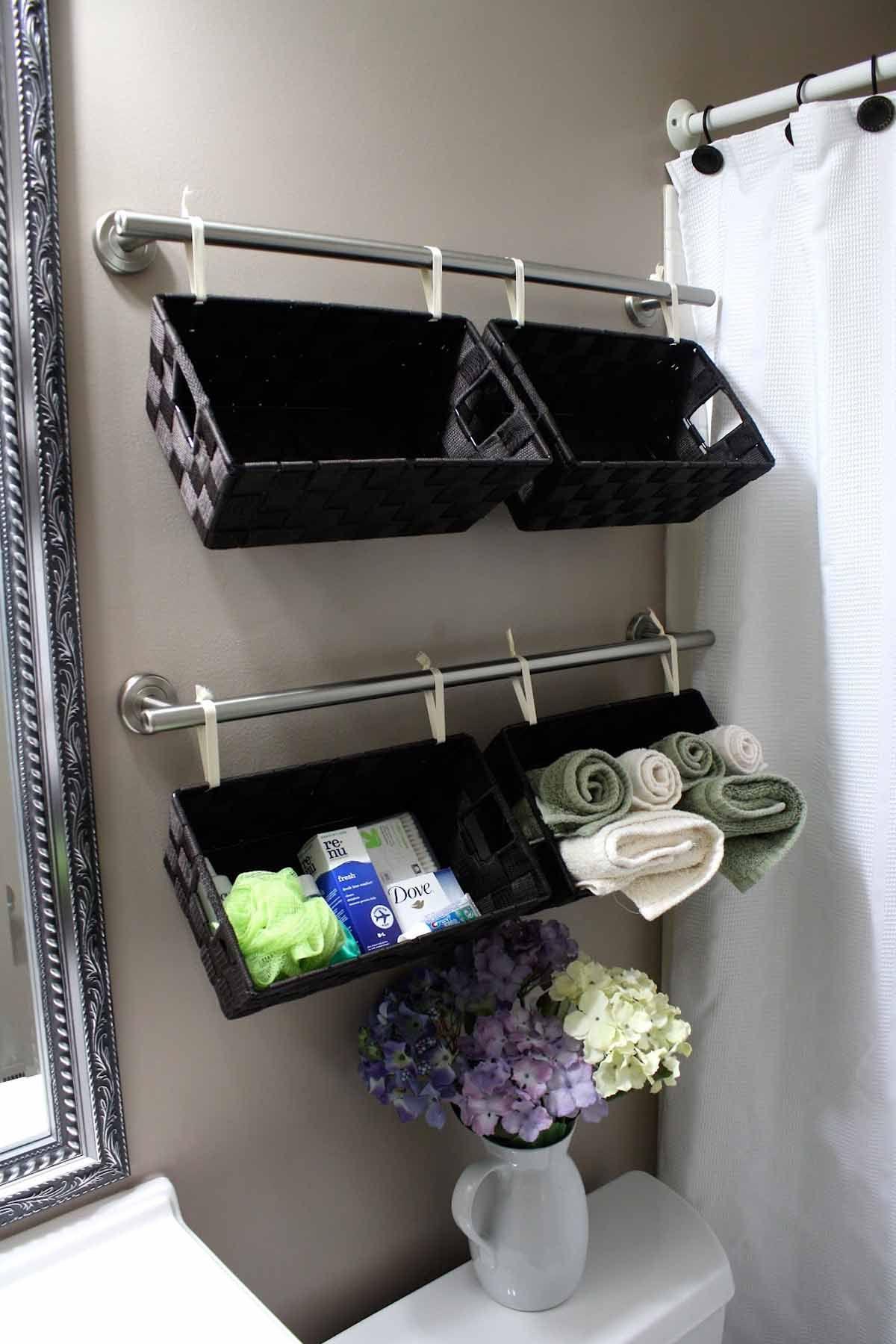 3rd Floor Bathroom Shelf Wall Hanging Shelf Rectangular Storage Shelf for Shower Room with Towel Rail Hook Creative Bathroom Shelf