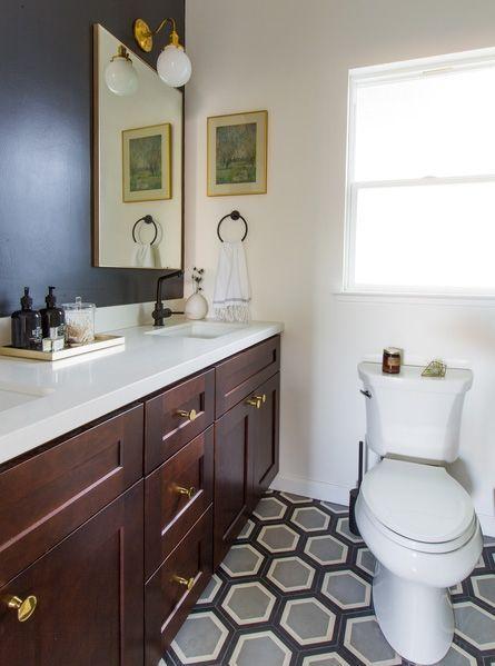 Bathroom, Room, Bathroom cabinet, Property, Sink, Furniture, Tile, Floor, Yellow, Interior design,