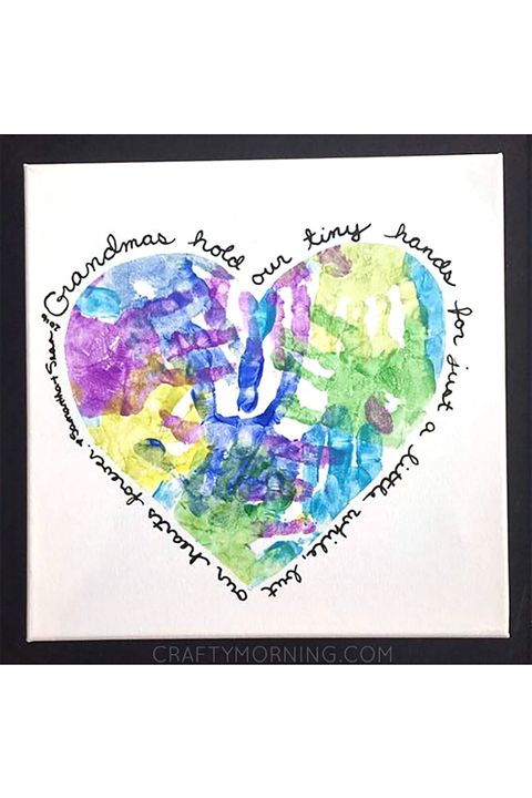Mothers Day Crafts Grandma Heart Canvas