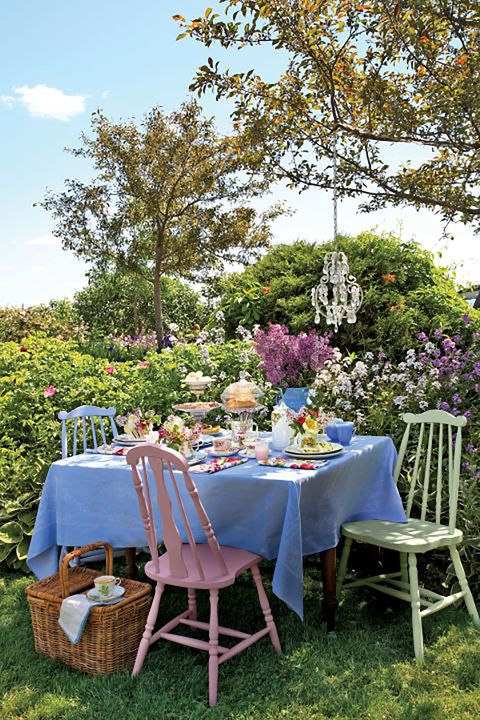 a table in a pretty garden